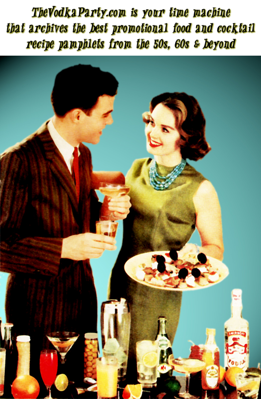 Stylish retro couple enjoys a cocktail and appetizers
