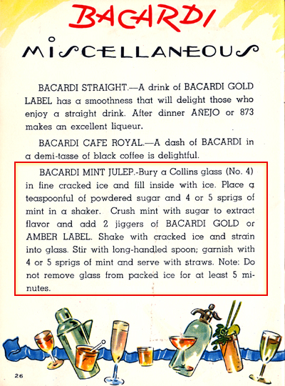 Bacardi Mint Julep – From How to Make Wonderful Cocktails (Mid-50s)